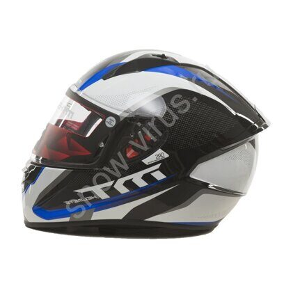 Шлем интеграл MT STINGER SPIKE Gloss Metallic Black White Yamaha Blue